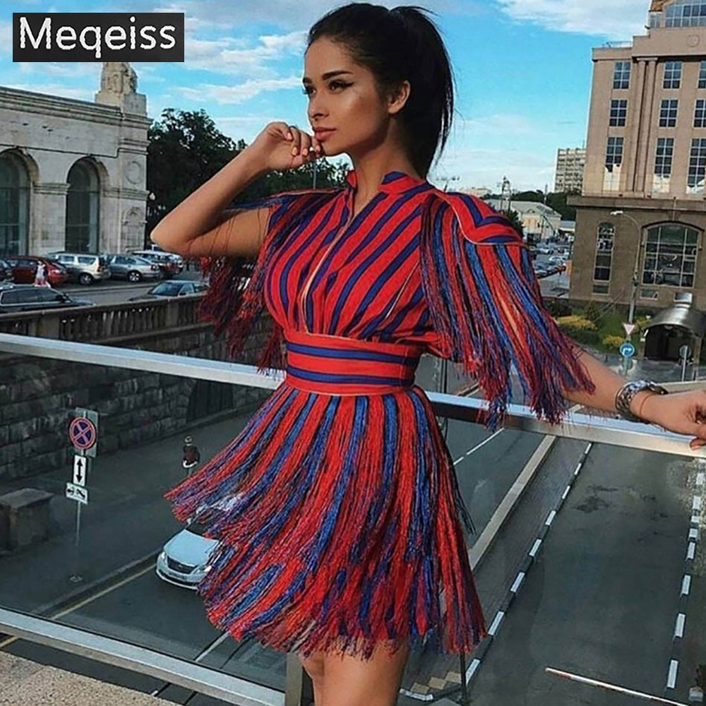 Meqeiss 2019 New Summer Women Dress Fashion Short Sleeve Tassel Red and Blue Striped Mini Evening