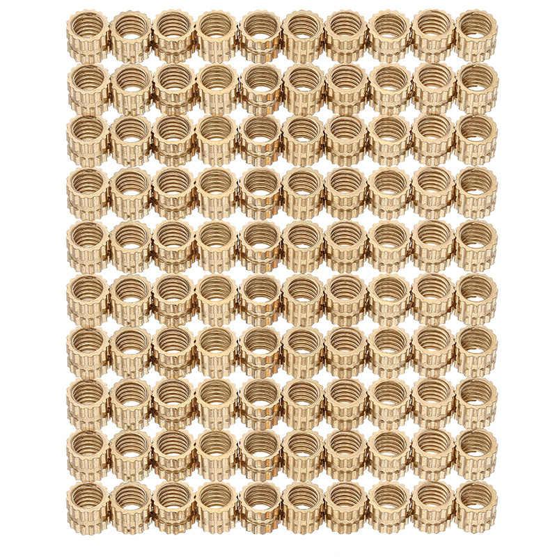 100 ชิ้น M4 x 4 มิลลิเมตรทองเหลือง Knurled ถั่วหญิงด้ายรอบใส่ฝังฉีดถั่ว