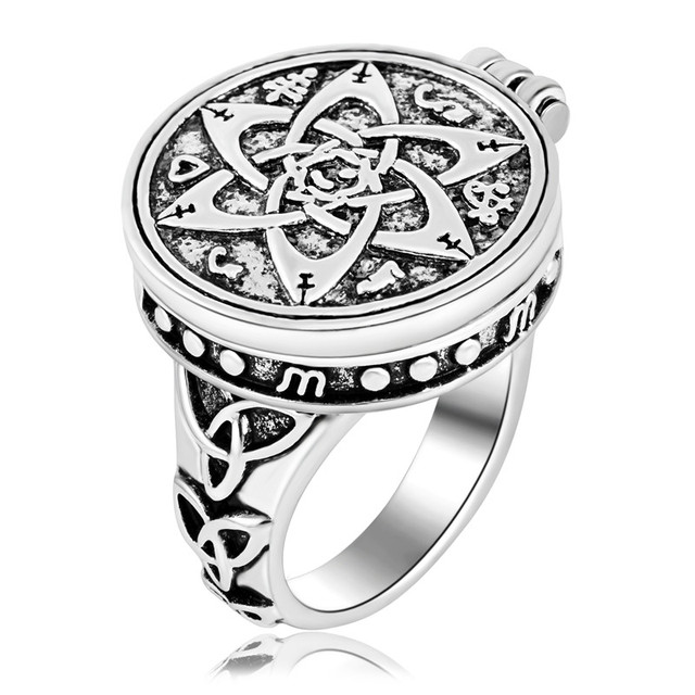 US $4 99 |EZEI Talisman for Poets Writers and Actors Pentacle Photo Box  Ring Hermetic Men Jewelry-in Rings from Jewelry & Accessories on