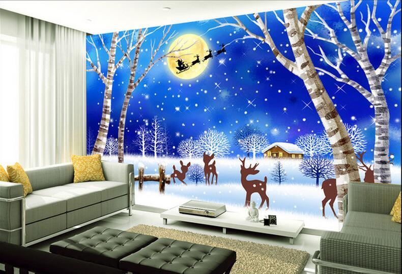Buy 3d wallpaper custom mural non woven for Christmas wall mural