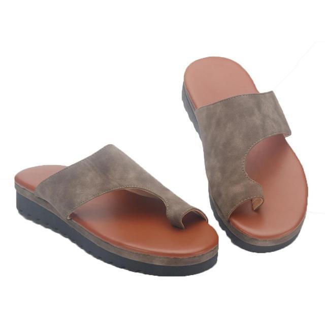 1 par Mulheres Comfy Plataforma Sandália Sapatos Pés Namoro Correto Engrossado Rua Couro PU Compras Mulheres Sola Plana Sandália