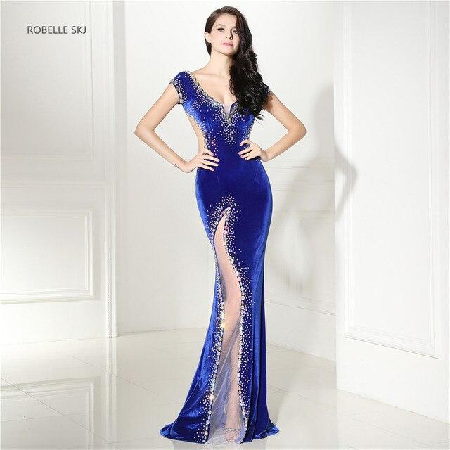 0da02da40e2 Abendkleid Sexy Long Mermaid Royal Blue Evening Dress Gown Prom Dress  Vestidos de Formatura Open Back