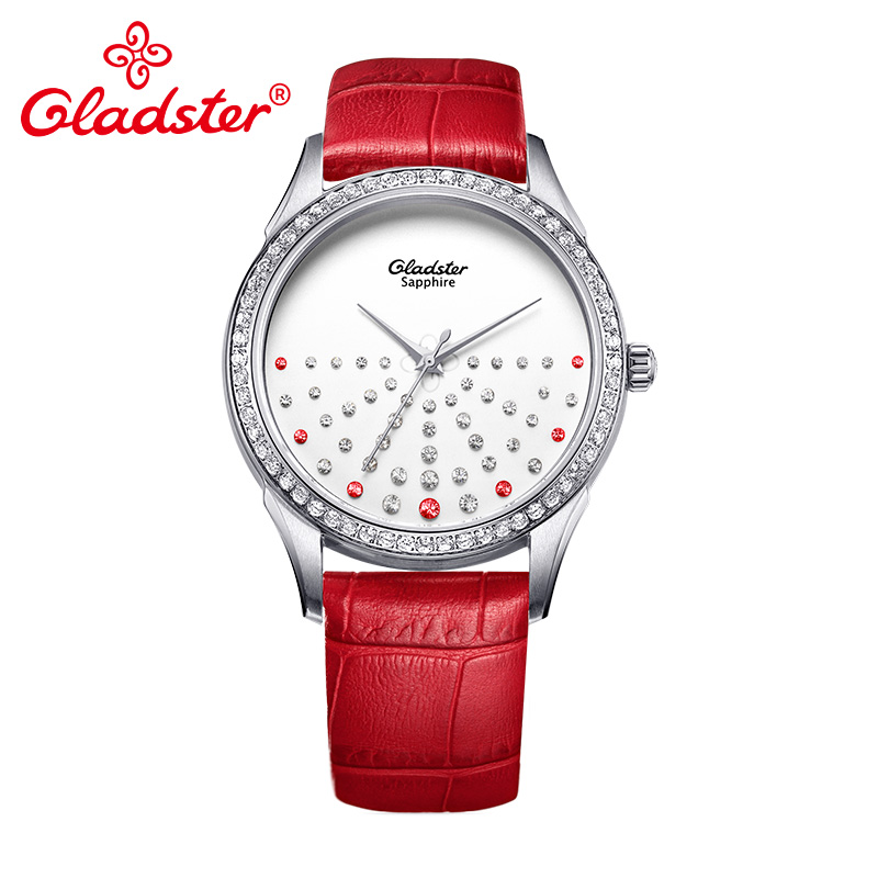 Gladster Luxury Japan MIYOTA 2039 Crystal Ladies Dress Watch Gold Women Quartz Wristwatch Casual Red Leather
