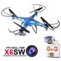 HOT! Quadrocopter com Câmera 2.4G 4CH 6 Asix x6sw RTF Helicóptero de Controle Remoto RC Quadcopter Drone com Wifi câmera FPV
