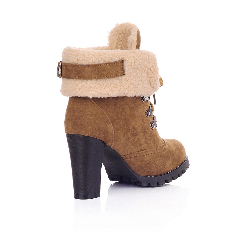 Plus Size Fashion Thick High Heel Shoes Women Boots Pointed Toe Ankle Boots with Platform Wnter Lace-up Warm Snow Boots H395 35