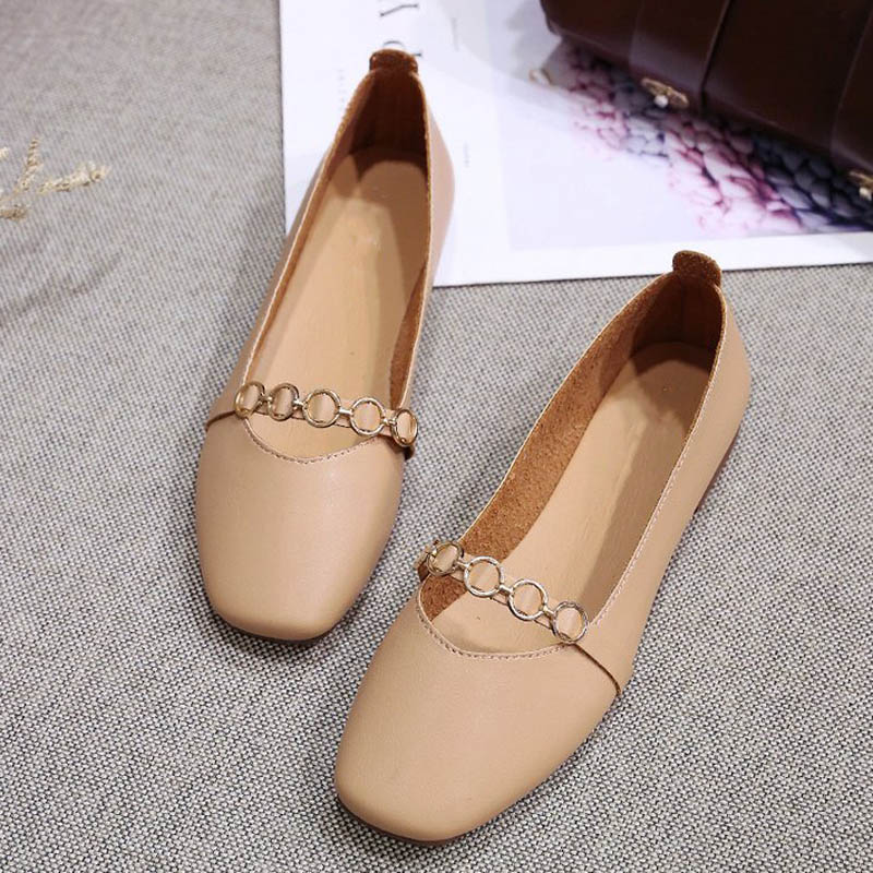 HEE GRAND 2019 New Spring Women Flats Solid Slip-On Causal Square Toe Shoes String Bead PU Leather Flats Size 35-40 XWD7578 4