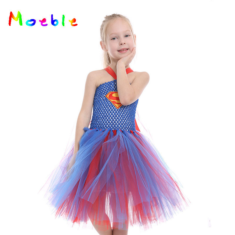 Red Girl Tutu Dress Supergirl Cartoon Girl Photography Costumes Kids Sleeveless Dress For Birthday Party Wedding multi colored sleeveless party dress