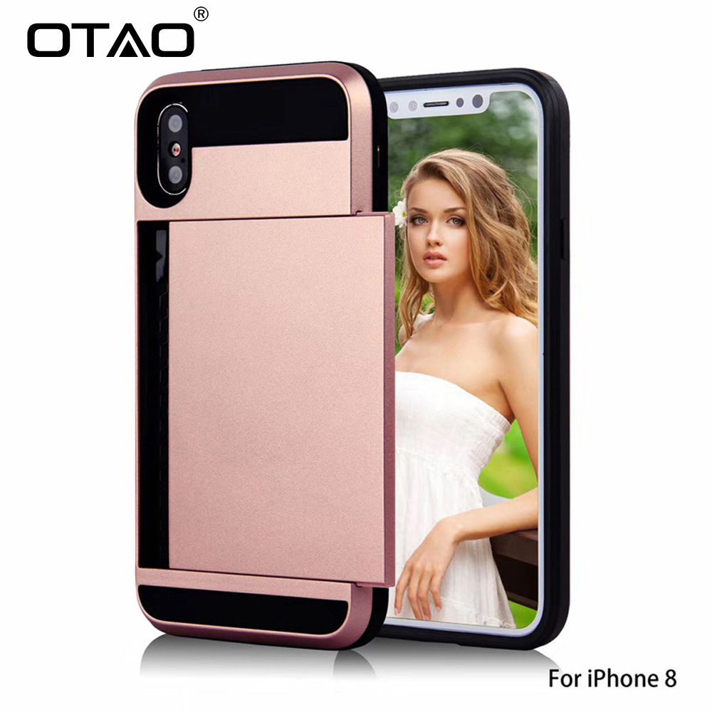 OTAO Slide Credit Card Slot Wallet Phone Case For iphone 8 7 6 6s Plus X XS MAX XR Cases TPU Armor Shockproof Cover For Apple 10 slide wallet