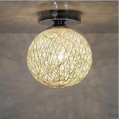 Bola de cáñamo Luces de techo Inicio Lámpara de mimbre Luces de la puerta Luces del corredor Porche Comedor Lámpara de techo Pasillo Pequeño pasillo Luces LED