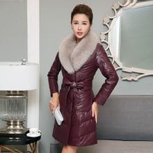New Winter Leather Jacket Women 2017 Ladies Fashio sheepskin Coat Shearling Women Long Leather Womens Winter