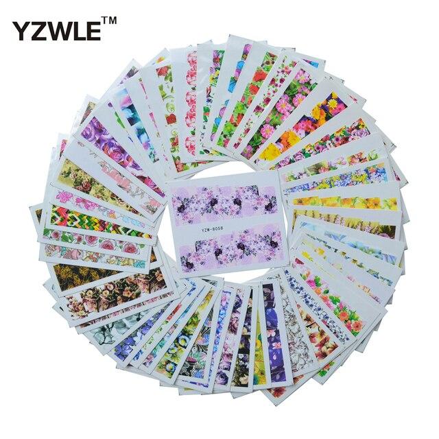 YZWLE 47 feuilles décalcomanies travaux manuels Mix 47 dessins de fleurs ongles Art transfert deau impression autocollants pour ongles Salon