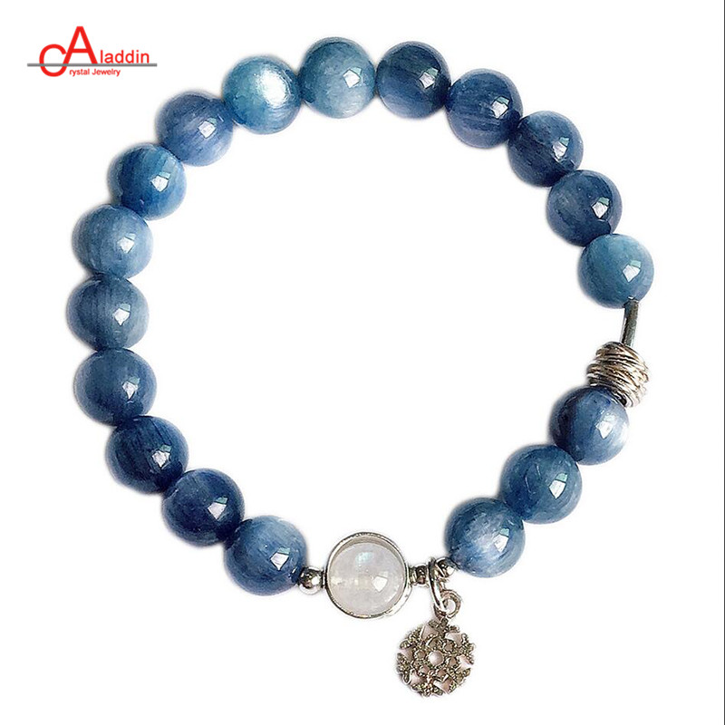 Aladdin 2019 New Natural kyanite Blue & White Moonstone crystal bracelet 925 Sterling Silver Male and female Bangles with opals