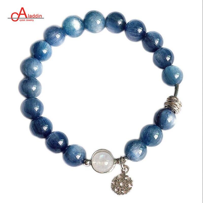 Aladdin 2019 nouveau bracelet en cristal de pierre de lune bleu et blanc kyanite naturel 925 bracelets en argent Sterling pour hommes et femmes avec opales