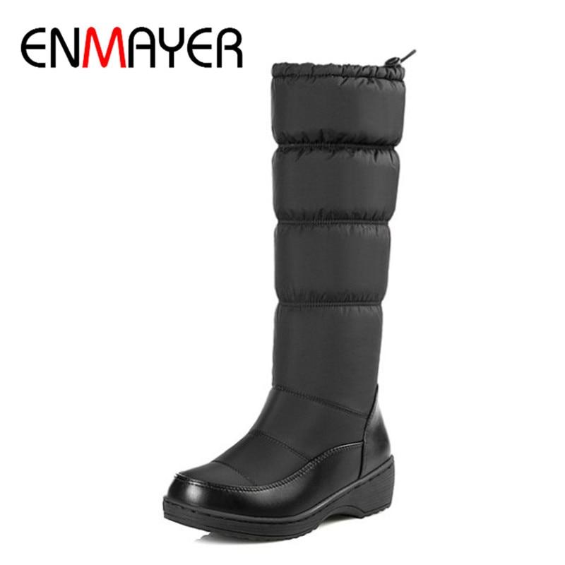 ENMAYER Fashion New Women Mild-calf Boots Wedges Down Winter Round Toe Warm Boots Platform Elastic Band Shoes Women Large Size