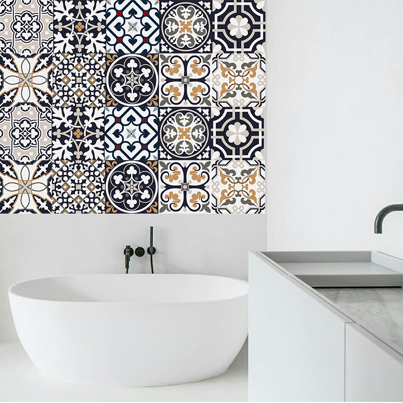 Diy Yellow Blue Mosaic Wall Tiles