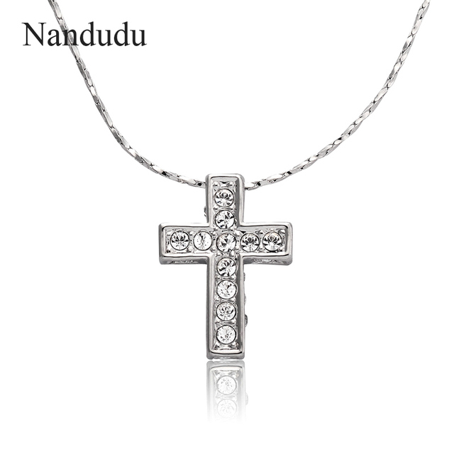Nandudu cross jesus pendant necklace austrian crystal charming nandudu cross jesus pendant necklace austrian crystal charming jewelry white gold color necklace plated jewelry gift aloadofball Image collections