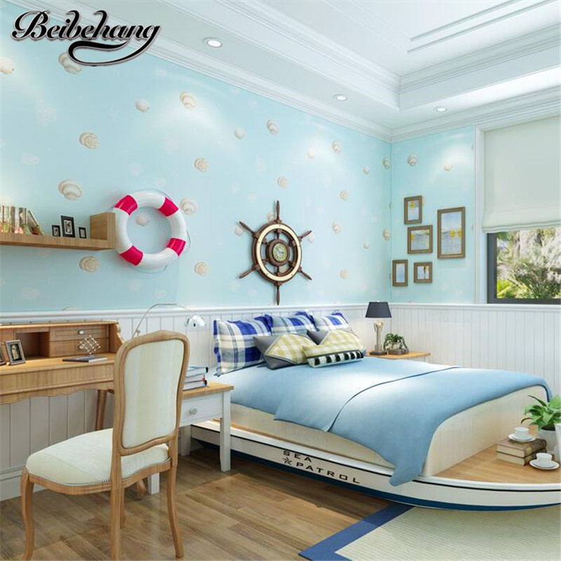 beibehang High - grade children Mediterranean wind shell non - woven wallpaper boy girl bedroom room wallpaper papel de parede beibehang children room non woven wallpaper wallpaper blue stripes car environmental health boy girl study bedroom wallpaper