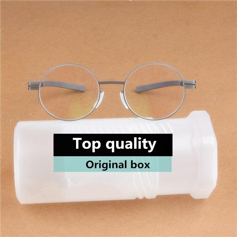 Retro Round Screwless Glasses Frame Men Vintage Optical Prescription Eyeglasses Business Women Spectacles
