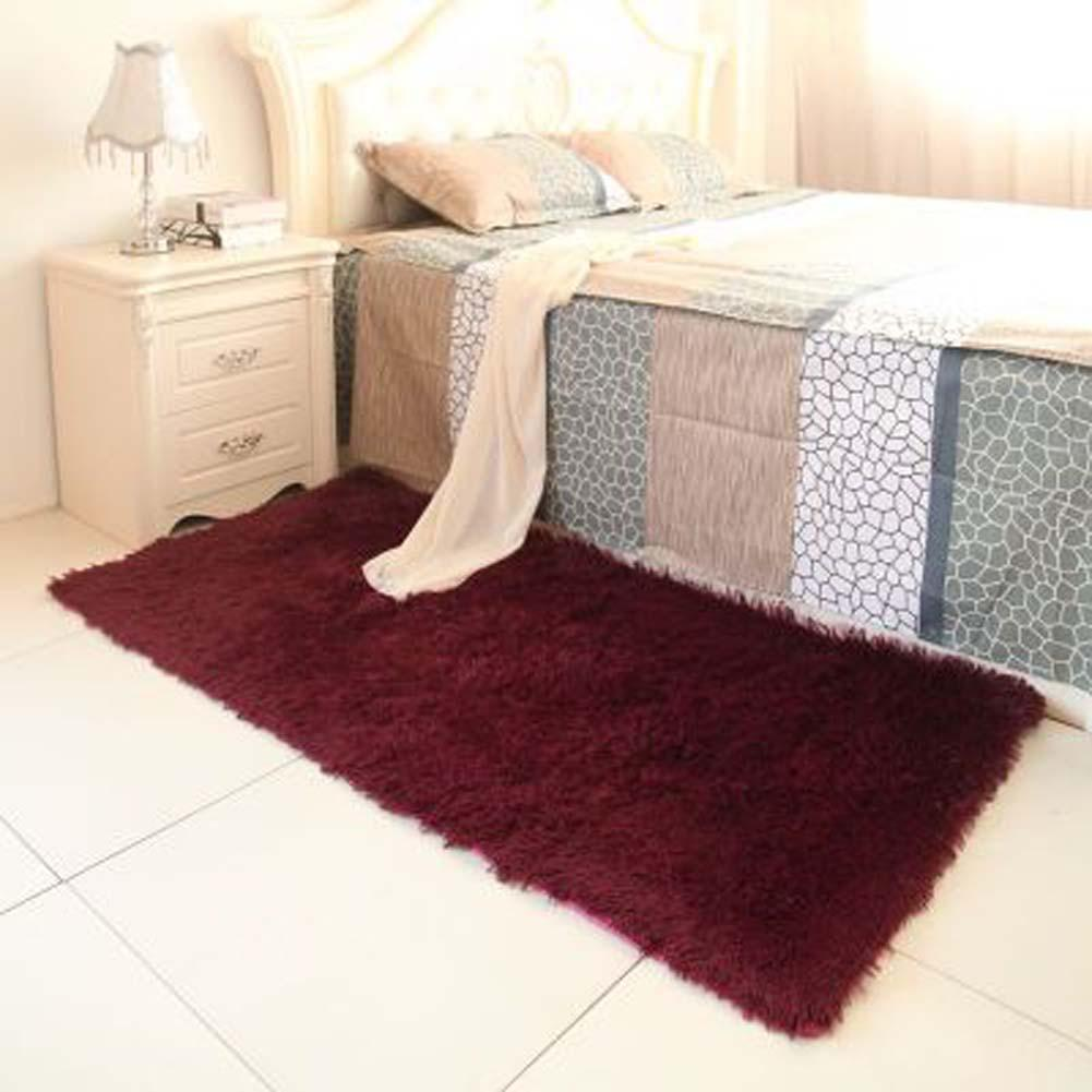 Fluffy Rugs Anti Skiding Shaggy Area Rug Dining Room Carpet Floor Mats Claret Living