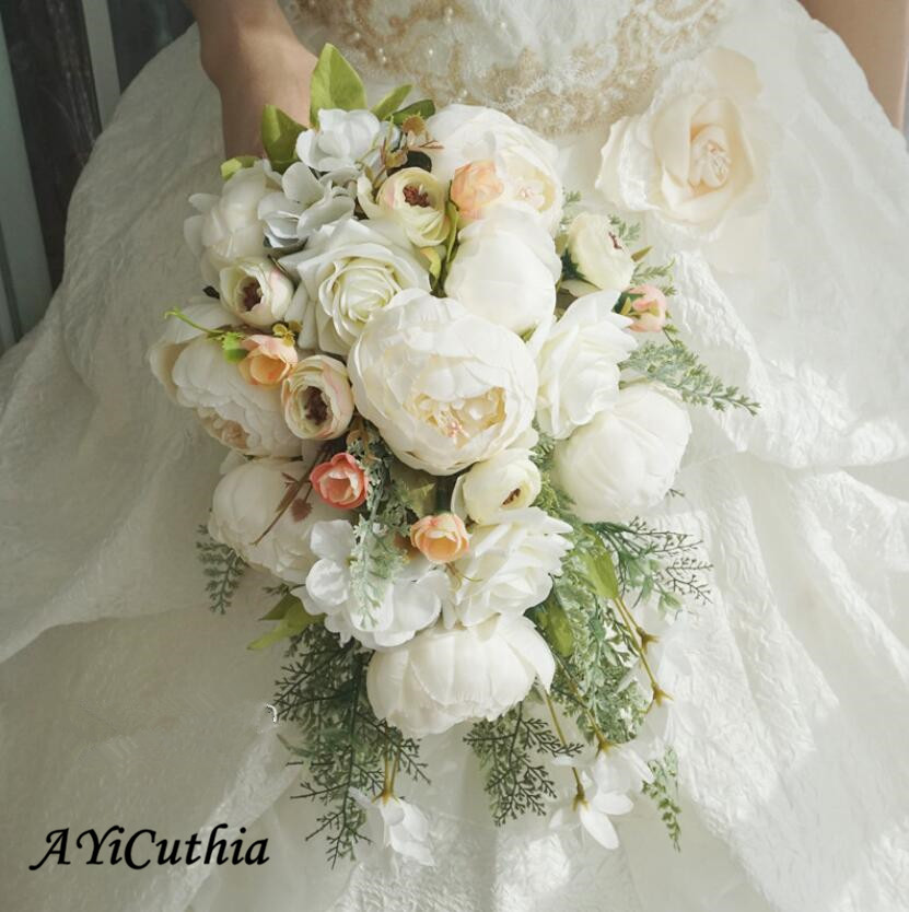 Hot Sale Wedding Bouquets Artificial Bride Flowers Wedding White Water Droplets Waterfall Wedding Flowers Bridal Bouquets S87