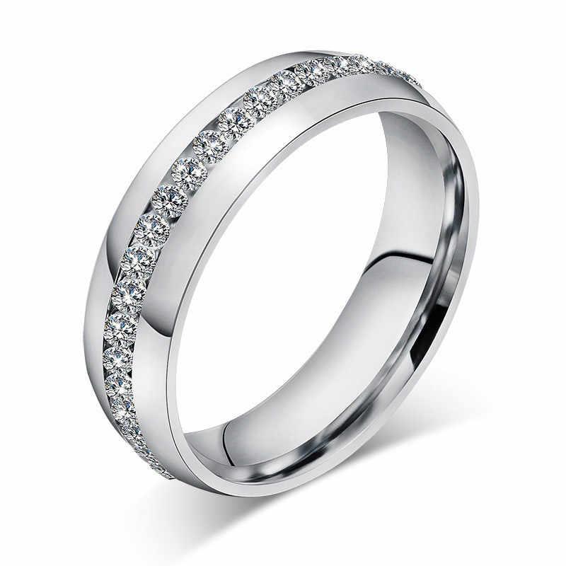 LETAPI 2019 ใหม่แฟชั่นแถวคริสตัลแหวนทอง/เงินสแตนเลสสตีลเครื่องประดับงานแต่งงาน