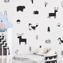 Nordic Style Forest Animal wall sticker Woodland Tree for children room nursery Vinyl Art Wall Stickers Modern Wall Decals Decor magic forest style 13 pieces stair sticker wall decor