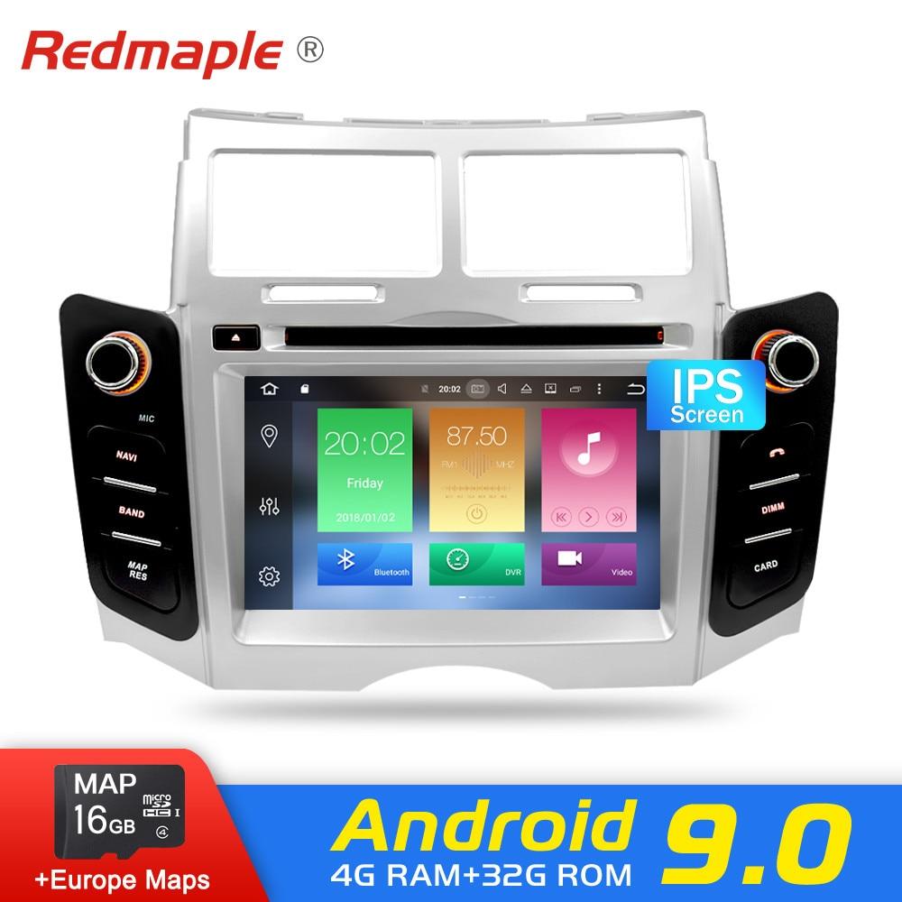 IPS Android 9.0 Car DVD player GPS Navigation Multimedia Stereo For Toyota Yaris 2005 2011 Auto Radio Audio Bluetooth Headunit