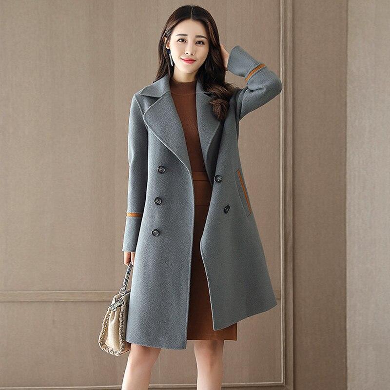 Plus Taille Moyen De 2018 Femmes Nouvelle La D'hiver Dames Femelle Long Vestes Manteau E17 Cachemire Laine 3xl Lâche Pardessus Eleagant Casual 6wA7qw