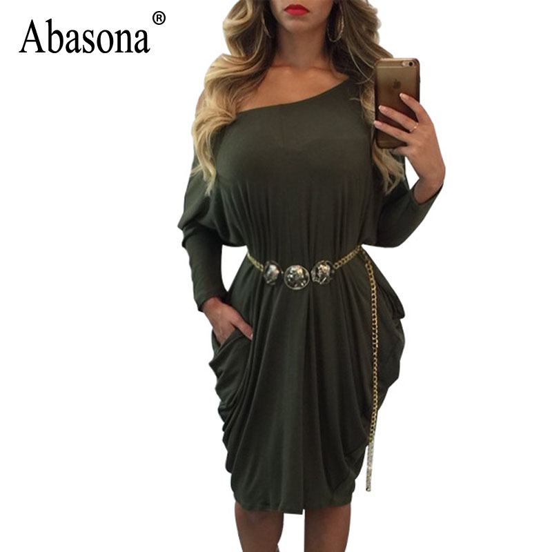 2335910f99be Abasona Women Pleated Dresses One Shoulder Women Dress Long Sleeve Pockets  Design Casual Loose Evening Party