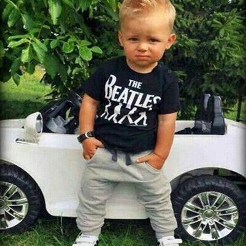 2019 Nieuwe Baby Boy Kleding 2 Stuks Korte Mouw T-shirt Tops + Broek Outfit Kleding Set Pak Met De Gedrukt 1-6y