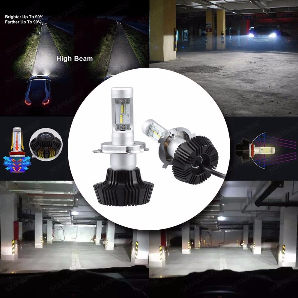 Pair Litech H4 HB2 12V 100W/160W LED Headlight Kit 12000 Lm PhilipsLED Lumileds ZES Chip Cool White 6000K Dual Hi/Lo Beam Bulbs