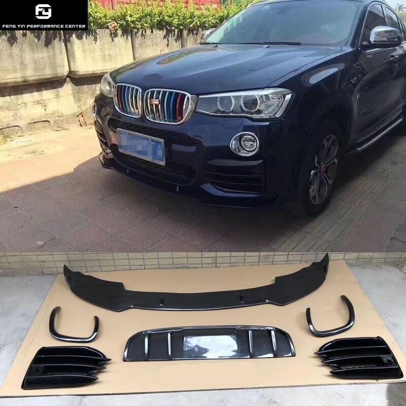 F26 X4 fibre de carbone PP pare-chocs avant lèvre pare-chocs arrière diffuseur anti-brouillard couvercle pour BMW F26 X4 kit carrosserie 2015-2016