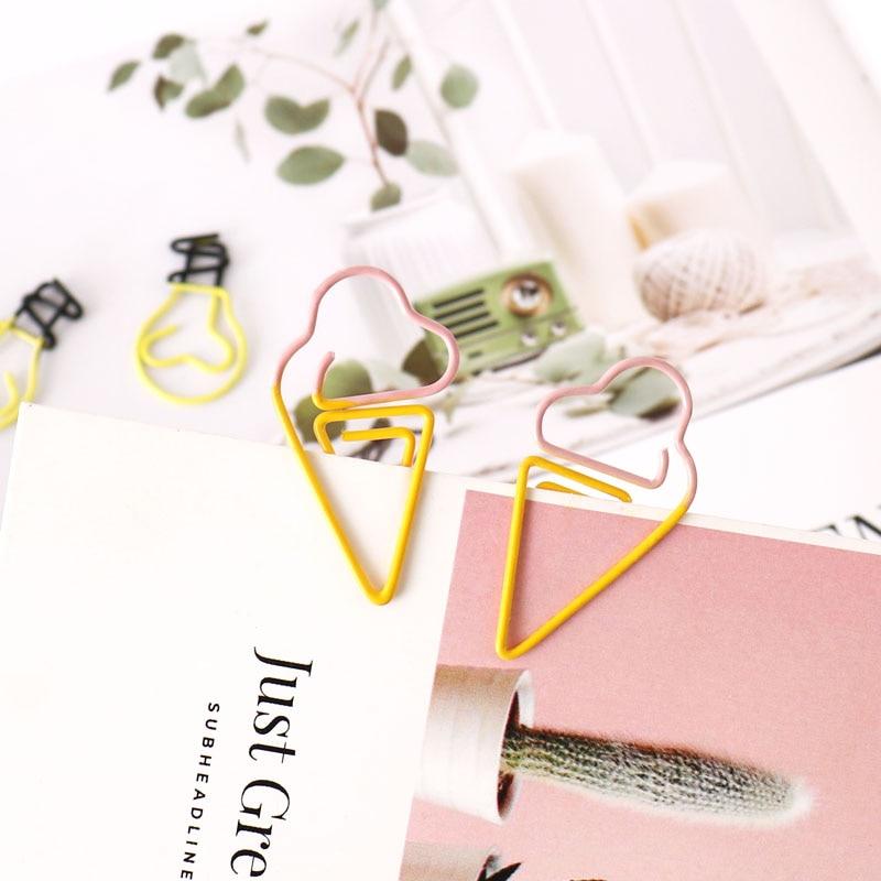 TUTU 10 pcs/lot Creative Kawaii pineapple ice cream bulb Shaped Metal Paper Clip Bookmark Stationery Escolar Papelaria H0281 4