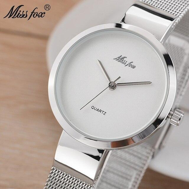 a23210d59062 MISSFOX Simple Watch Women Stainless Steel Minimalist Dw Watch D.w Super  Slim Xcfs Fashion Casual Ladies Watch For Female Clock
