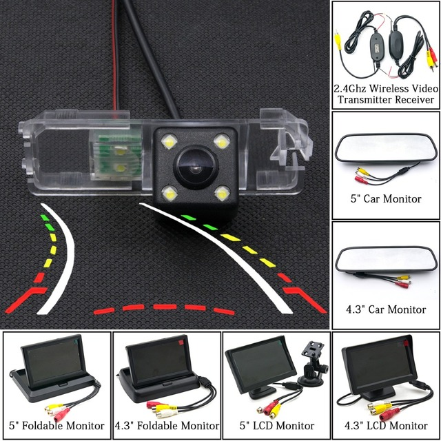 Dynamic Trajectory Tracks Rear View Camera Parking Wireless Monitor For VW Magotan Passat B6 B7 CC Bora Golf Polo Jetta Amarok