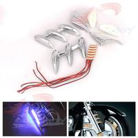 Motorcycle Chrome Fairing & LED Lights Fork Tower Accents AND Fender Shark Tooth Fender For Honda GL1800 Goldwing 2001 2016