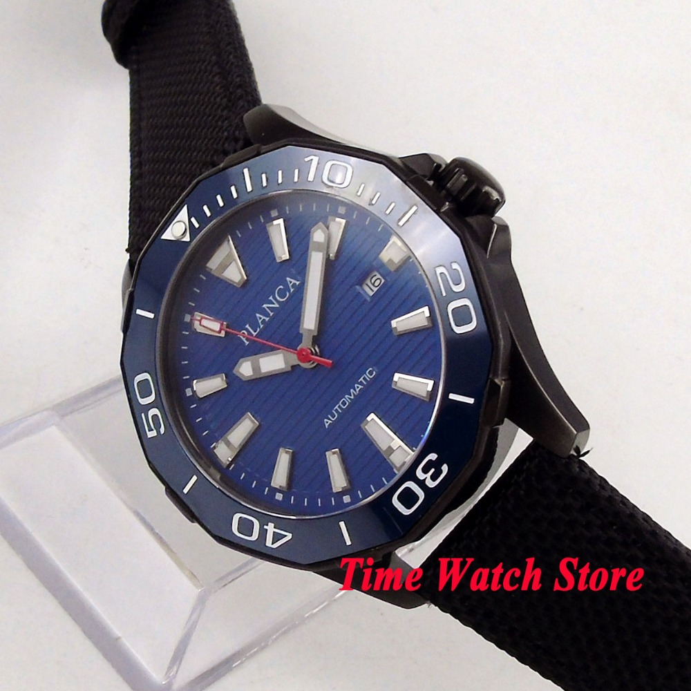 45mm PLANCA PVD men's watch blue dial luminous ceramic bezel sapphire glass MIYOTA Automatic movement wrist watch PL15 цена