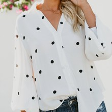 Women Casual Tops Polka Dot Long Sleeve Shirts Loose Blouse Chiffon Clothes Dress Summer(China)