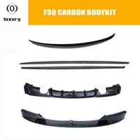 F30 Bodykit Carbon Fiber Side Skirt & Rear Diffuser & Rear Trunk Spoiler & Front lip for BMW F30 3 Series M tech M sport 12 16
