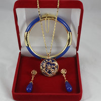 7.5' blue Jades bracelet, earings, and dragon inlay blue jades pendant jewelry sets for Christmas and valentine's gift