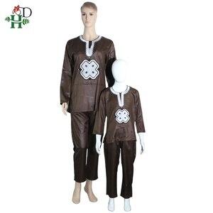 Image 3 - H & D dashiki conjunto para Padre hijo, ropa africana para mujer, camisa bordada, pantalón, trajes de 2 piezas, 2020