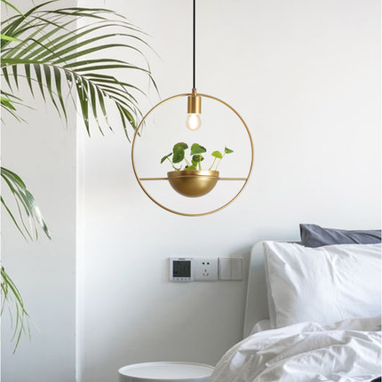 Modern Gold Single Ring Pendant Lights DIY Plant Led Hanging Lamp Dining Room Bedroom Lighting Fixtures Home Decor Luminaire E27