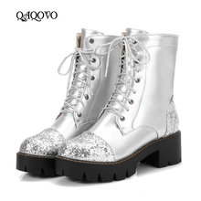 Women Shoes Lacing Ankle Boots Fashion Sequined Pu Platform Boots Thick Low Heels Booties Autumn Winter Shoes Black Pink Silver