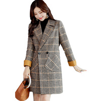 2018 women's coat wool long sectionkawaiiveste laine femmetwotwinstyle cashmereWarm thickening