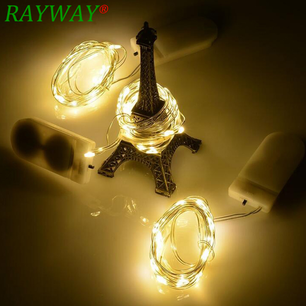RAYWAY Newest  Copper Led Fairy Lights 2M 20 Leds CR2032 Button Battery Operated LED String Light Xmas Wedding party Decoration