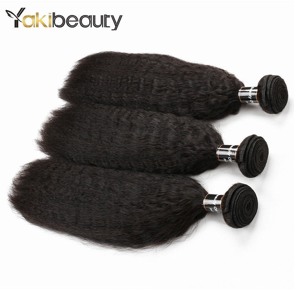 Kinky Straight Hair Bundles 3pcs/lot Yakibeauty Indian Human Hair Weave Bundles 8-28inch Natural Black Remy Hair Extension