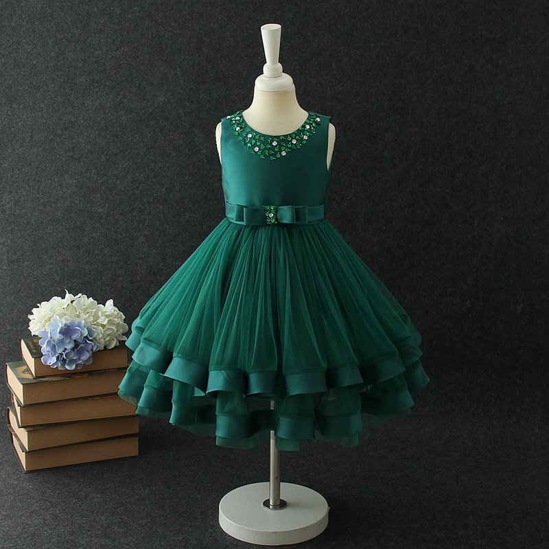 New Arrival Scoop Sleeveless Short Crystal Beaded   Flower     Girls     Dresses   With Bow Cheap Knee Length Little   Girl   Party   Dresses