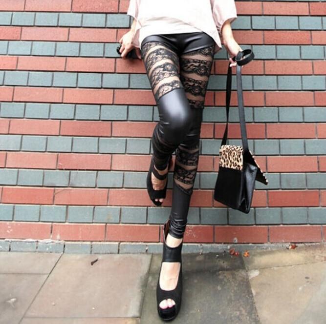 5pcs/lot free shipping Imitation pu Leather stitching leather pants female mesh yarn hollow roses Legging women skinny pant