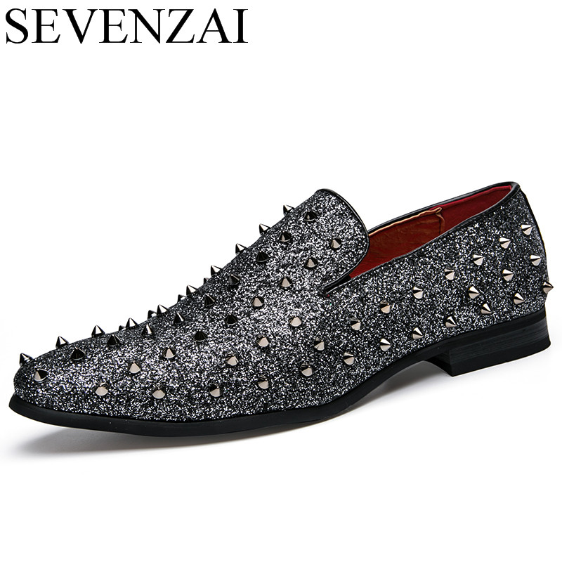 men's spike dress shoes italian silver party slip on rhinestone loafers 2017 luxury brand unique cool male studded footwear flat choudory mens pointed toe dress shoes slip on luxury shiny spike loafers men silver flat wedding shoes
