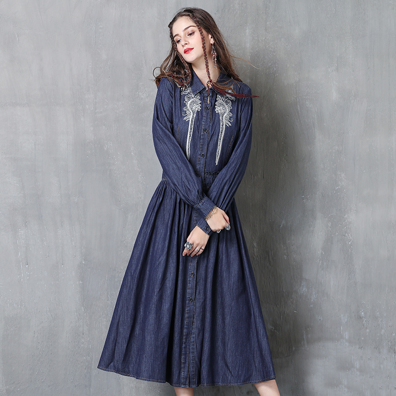 Dangal Spring Women Dresses Boho New Denim Vestidos Turn-down Collar Long Sleeve Flower Embroidery Elastic Waist Dresses 2018